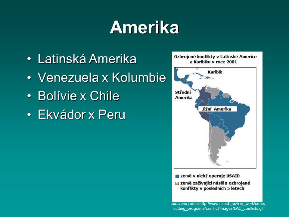 Amerika Latinská AmerikaLatinská Amerika Venezuela x KolumbieVenezuela x Kolumbie Bolívie x ChileBolívie x Chile Ekvádor x PeruEkvádor x Peru upraveno