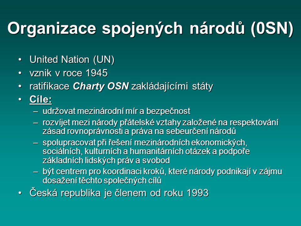 Organizace spojených národů (0SN) United Nation (UN)United Nation (UN) vznik v roce 1945vznik v roce 1945 ratifikace Charty OSN zakládajícími státyrat