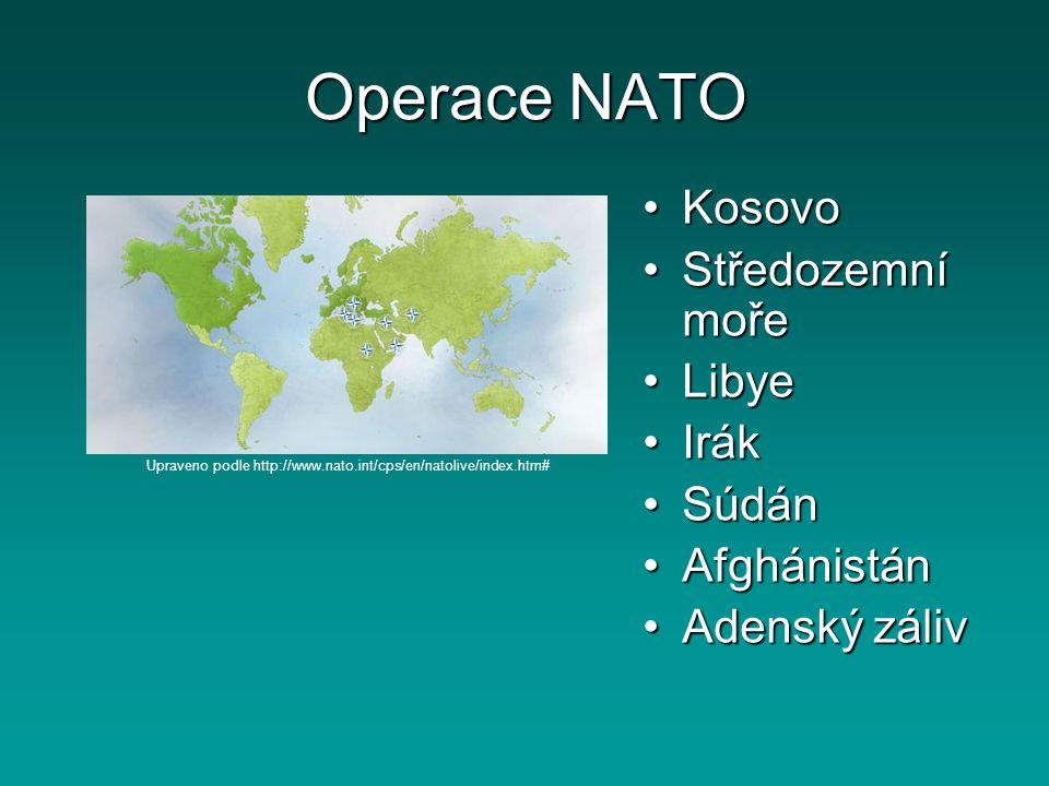 Operace NATO KosovoKosovo Středozemní mořeStředozemní moře LibyeLibye IrákIrák SúdánSúdán AfghánistánAfghánistán Adenský zálivAdenský záliv Upraveno p