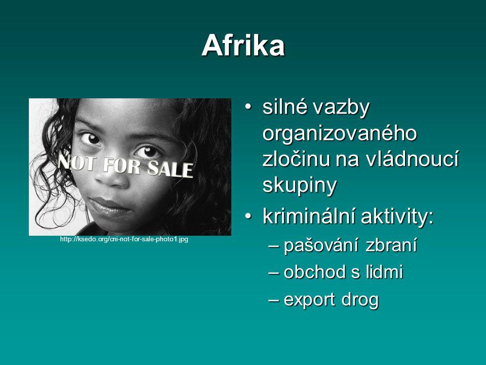 Afrika silné vazby organizovaného zločinu na vládnoucí skupinysilné vazby organizovaného zločinu na vládnoucí skupiny kriminální aktivity:kriminální a