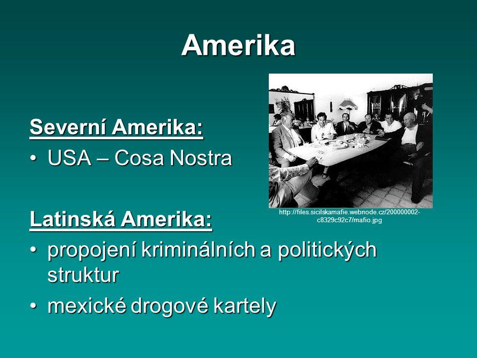 Amerika Severní Amerika: USA – Cosa NostraUSA – Cosa Nostra Latinská Amerika: propojení kriminálních a politických strukturpropojení kriminálních a po