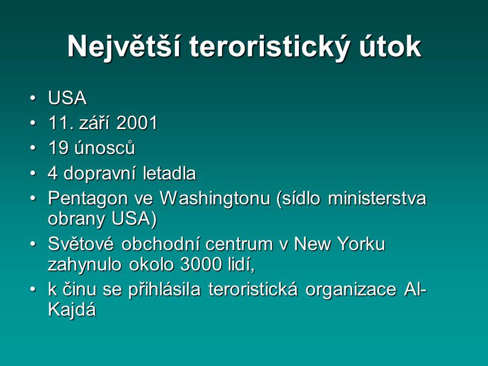 Největší teroristický útok USAUSA 11. září 200111. září 2001 19 únosců19 únosců 4 dopravní letadla4 dopravní letadla Pentagon ve Washingtonu (sídlo mi