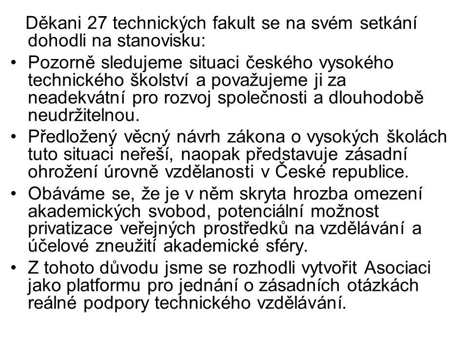 Děkani 27 technických fakult se na svém setkání dohodli na stanovisku: Pozorně sledujeme situaci českého vysokého technického školství a považujeme ji za neadekvátní pro rozvoj společnosti a dlouhodobě neudržitelnou.