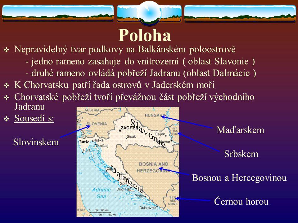 Poloha NNepravidelný tvar podkovy na Balkánském poloostrově - jedno rameno zasahuje do vnitrozemí ( oblast Slavonie ) - druhé rameno ovládá pobřeží