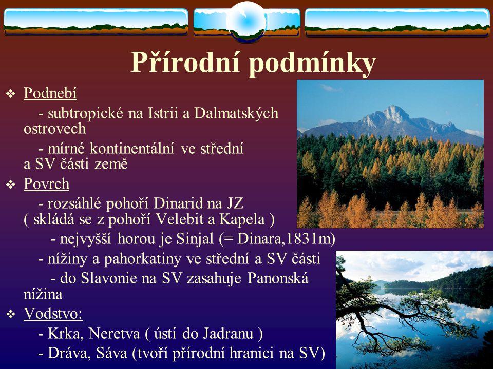 Přírodní podmínky PPodnebí - subtropické na Istrii a Dalmatských ostrovech - mírné kontinentální ve střední a SV části země PPovrch - rozsáhlé poh