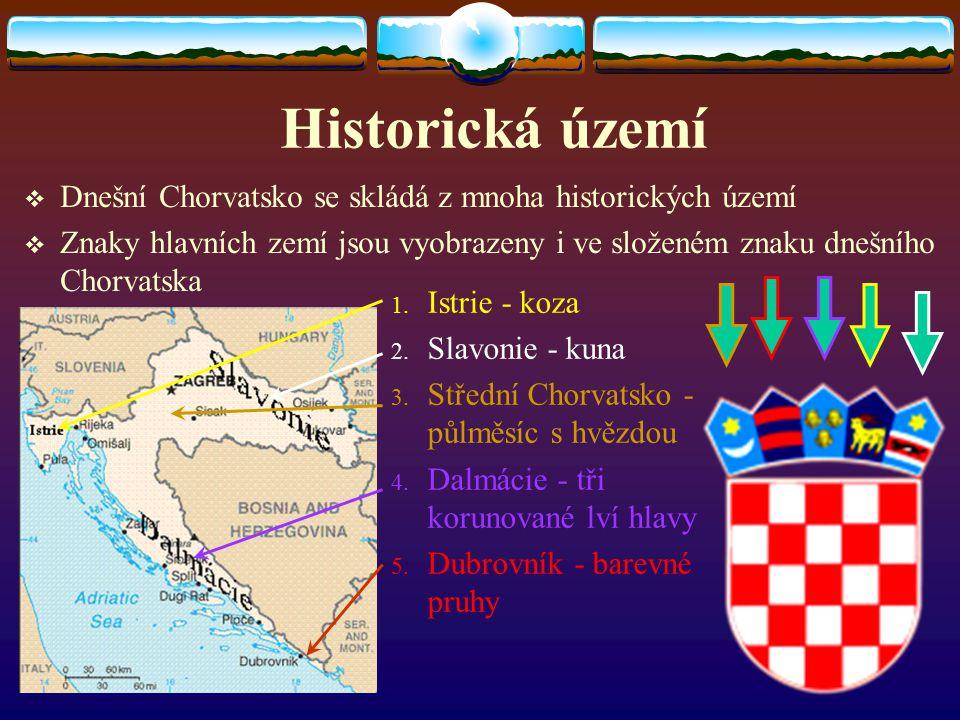 Historická území DDnešní Chorvatsko se skládá z mnoha historických území ZZnaky hlavních zemí jsou vyobrazeny i ve složeném znaku dnešního Chorvat