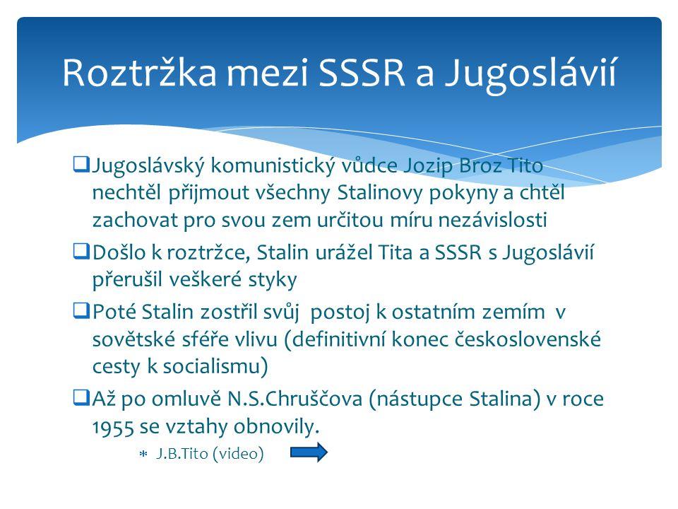  Jugoslávský komunistický vůdce Jozip Broz Tito nechtěl přijmout všechny Stalinovy pokyny a chtěl zachovat pro svou zem určitou míru nezávislosti  Došlo k roztržce, Stalin urážel Tita a SSSR s Jugoslávií přerušil veškeré styky  Poté Stalin zostřil svůj postoj k ostatním zemím v sovětské sféře vlivu (definitivní konec československé cesty k socialismu)  Až po omluvě N.S.Chruščova (nástupce Stalina) v roce 1955 se vztahy obnovily.