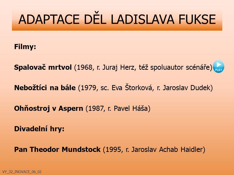 ADAPTACE DĚL LADISLAVA FUKSE Filmy: Spalovač mrtvol (1968, r. Juraj Herz, též spoluautor scénáře) Nebožtíci na bále (1979, sc. Eva Štorková, r. Jarosl