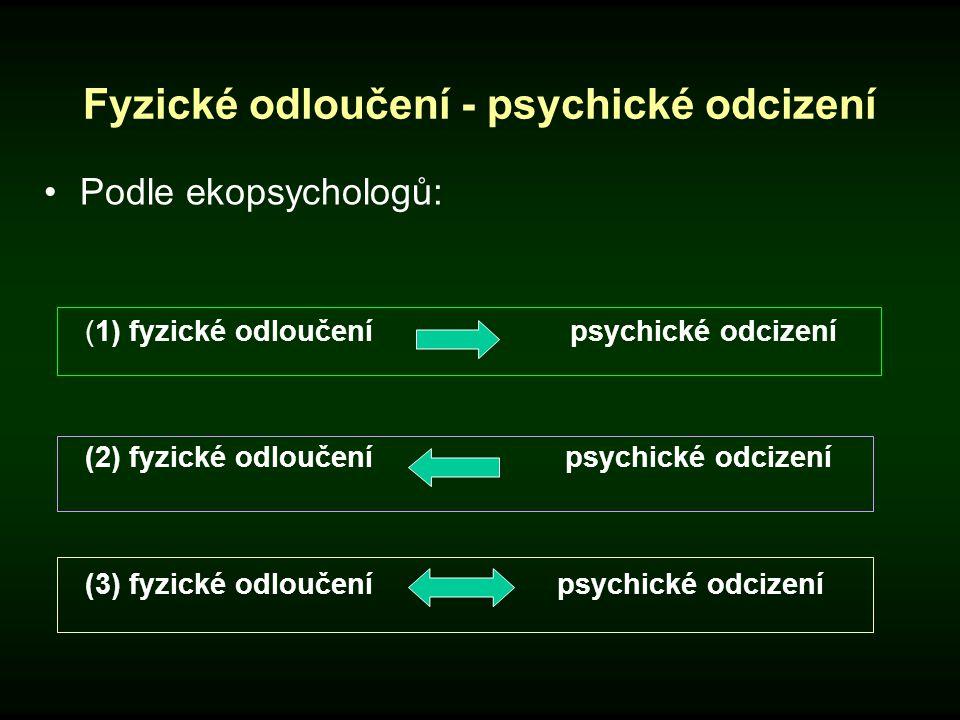 Fyzické odloučení - psychické odcizení Podle ekopsychologů: (1) fyzické odloučení psychické odcizení (2) fyzické odloučení psychické odcizení (3) fyzi
