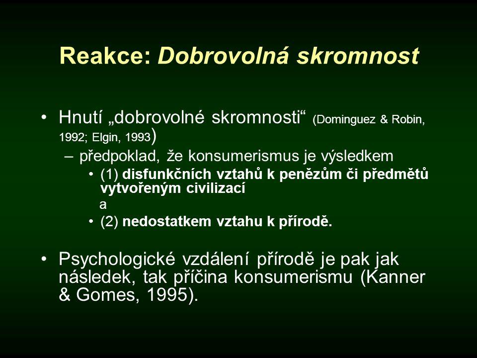 "Reakce: Dobrovolná skromnost Hnutí ""dobrovolné skromnosti"" (Dominguez & Robin, 1992; Elgin, 1993 ) –předpoklad, že konsumerismus je výsledkem (1) disf"