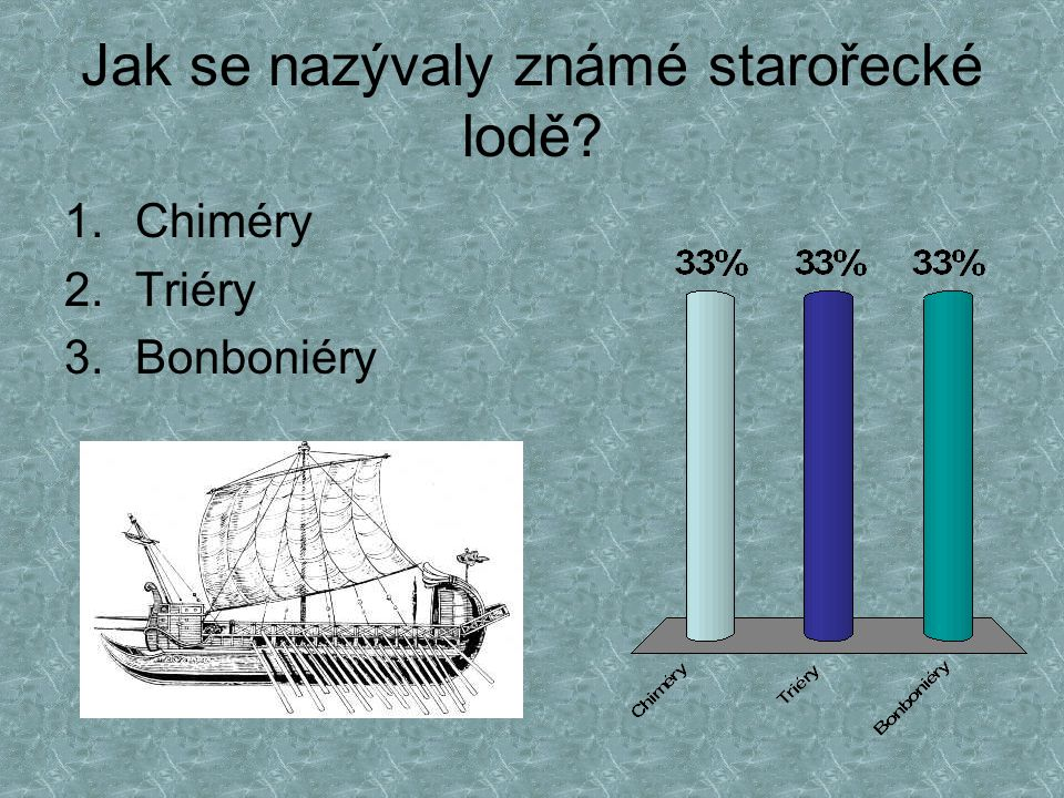 Jak se nazývaly známé starořecké lodě? 1.Chiméry 2.Triéry 3.Bonboniéry