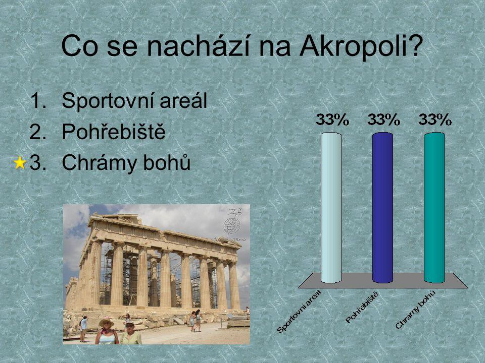 Co se nachází na Akropoli? 1.Sportovní areál 2.Pohřebiště 3.Chrámy bohů