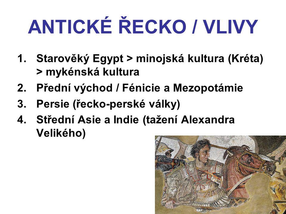 ANTICKÉ ŘECKO / VLIVY 1.Starověký Egypt > minojská kultura (Kréta) > mykénská kultura 2.Přední východ / Fénicie a Mezopotámie 3.Persie (řecko-perské v