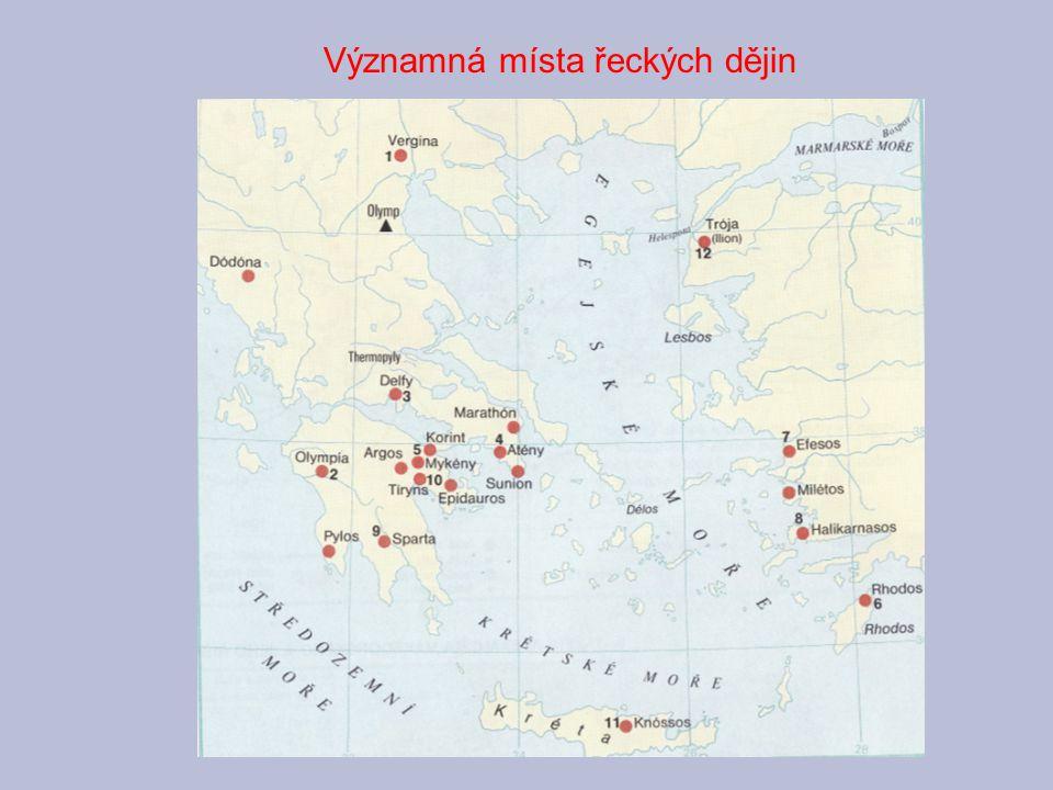 Archaické období Nejstarší civilizací na území Řecka byla krétsko-mykénská kultura (3.