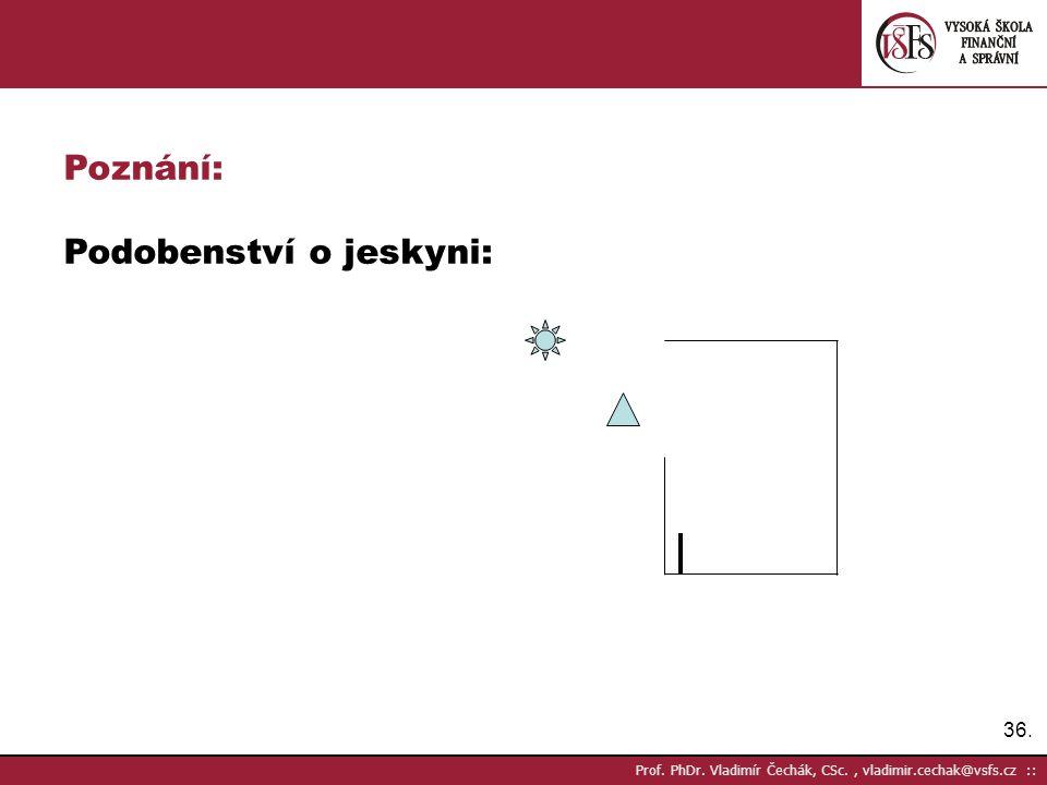 36. Prof. PhDr. Vladimír Čechák, CSc., vladimir.cechak@vsfs.cz :: Poznání: Podobenství o jeskyni: