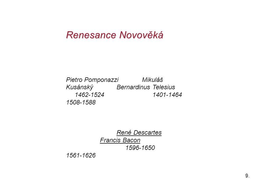 9.9. Renesance Novověká Pietro Pomponazzi Mikuláš KusánskýBernardinus Telesius 1462-1524 1401-1464 1508-1588 René Descartes Francis Bacon 1596-1650 15