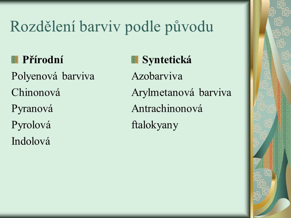 Rozdělení barviv podle původu Přírodní Polyenová barviva Chinonová Pyranová Pyrolová Indolová Syntetická Azobarviva Arylmetanová barviva Antrachinonov