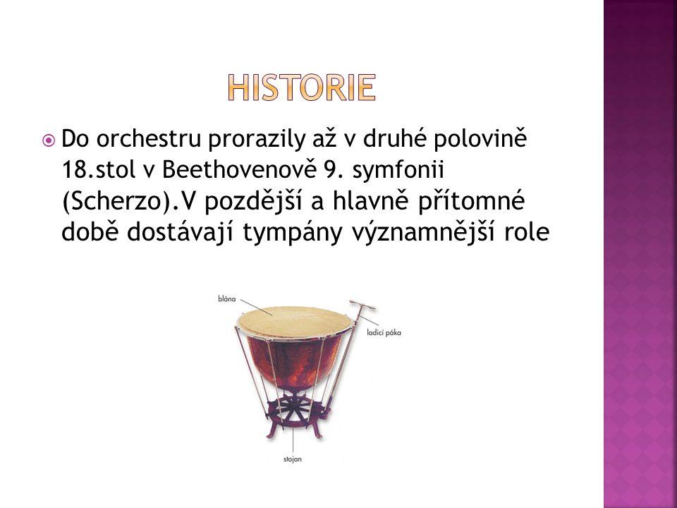  Do orchestru prorazily až v druhé polovině 18.stol v Beethovenově 9.