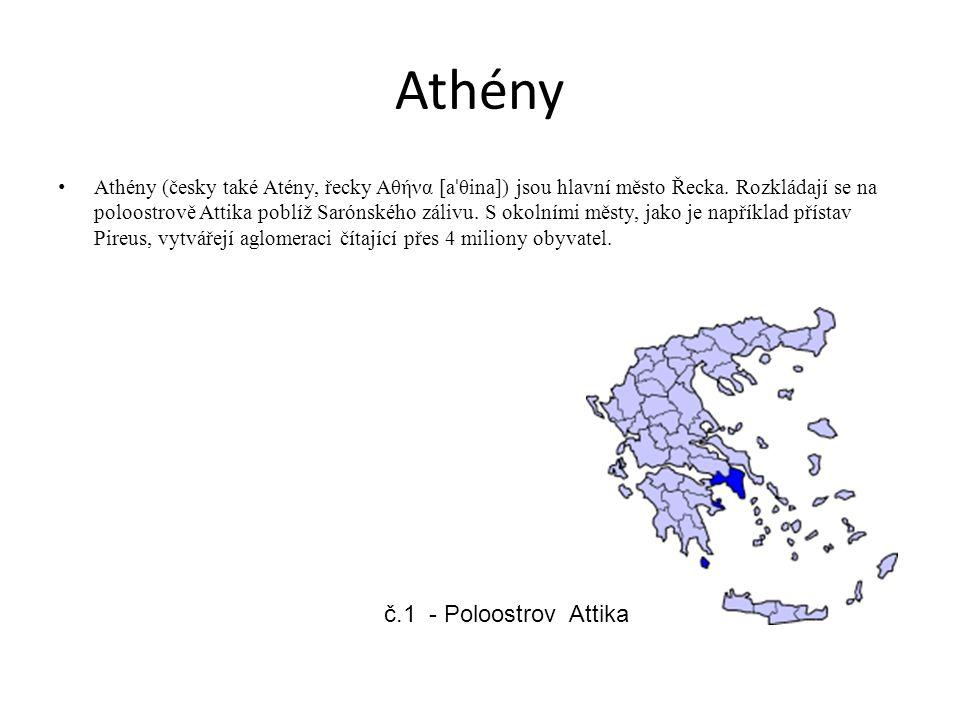 Athény Athény (česky také Atény, řecky Αθήνα [a ˈ θina]) jsou hlavní město Řecka. Rozkládají se na poloostrově Attika poblíž Sarónského zálivu. S okol