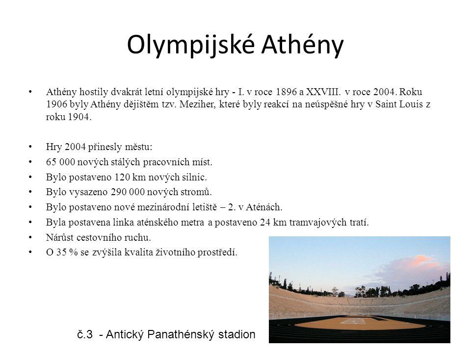 Olympijské Athény Athény hostily dvakrát letní olympijské hry - I. v roce 1896 a XXVIII. v roce 2004. Roku 1906 byly Athény dějištěm tzv. Meziher, kte