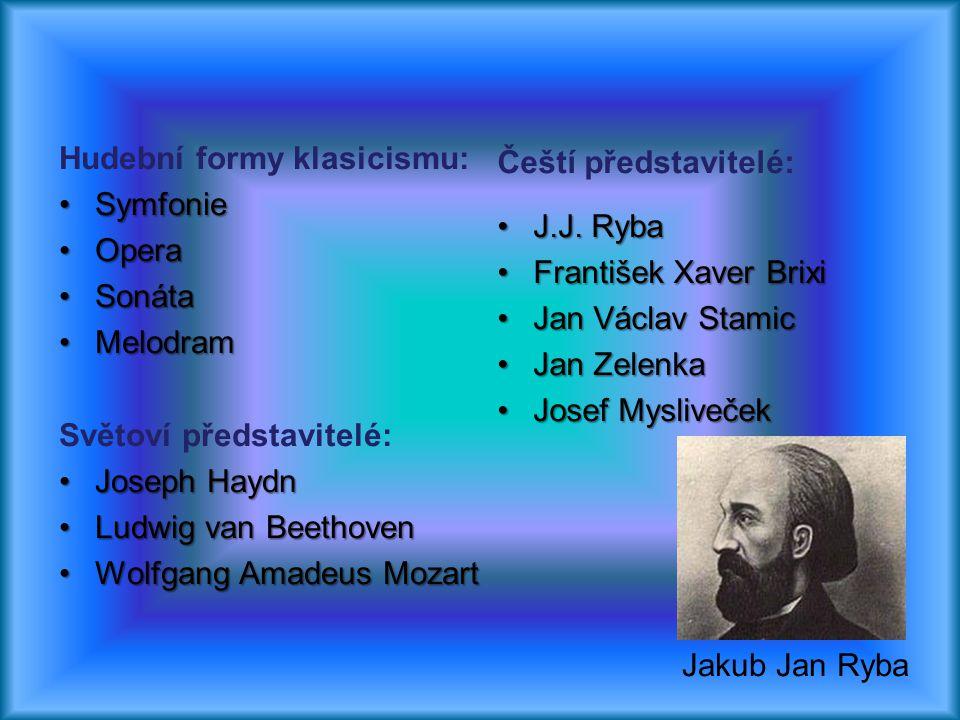 Hudební formy klasicismu: SymfonieSymfonie OperaOpera SonátaSonáta MelodramMelodram Světoví představitelé: Joseph HaydnJoseph Haydn Ludwig van Beethov