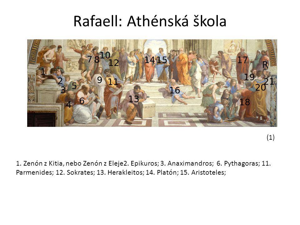 Rafaell: Athénská škola (1) 1. Zenón z Kitia, nebo Zenón z Eleje2. Epikuros; 3. Anaximandros; 6. Pythagoras; 11. Parmenides; 12. Sokrates; 13. Herakle