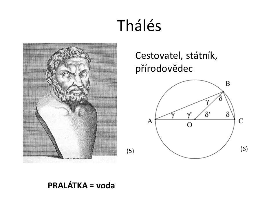 Thálés (5) (6) Cestovatel, státník, přírodovědec PRALÁTKA = voda
