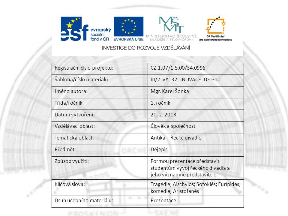 Registrační číslo projektu:CZ.1.07/1.5.00/34.0996 Šablona/číslo materiálu:III/2 VY_32_INOVACE_DEJ300 Jméno autora:Mgr.