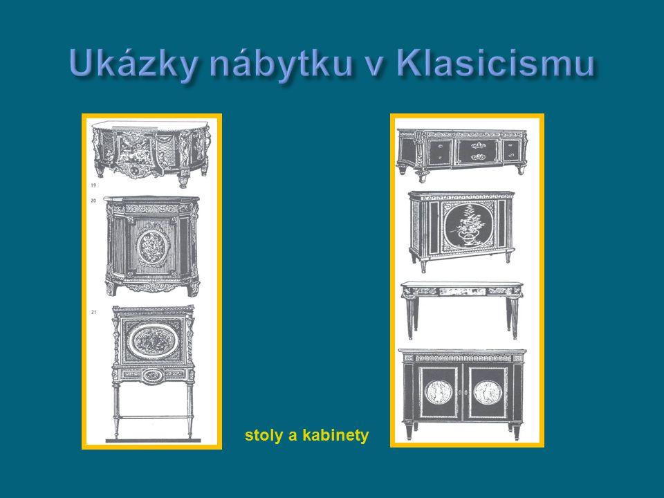  nábytek byl jemný a ladných odstínů a precizní  zlaté linky zdůrazňovaly symetrickou kompozici  rafinovaná jednoduchost a prostost byla výsledkem náročné řemeslné práce autorů litím z bronzu  Ebenista J.H.Reisner byl významný svou marketerií kterou vytvářel litím z bronzu (alegorické postavy a dekorace) bureau du roy Proslulý je jeho psací stůl bureau du roy