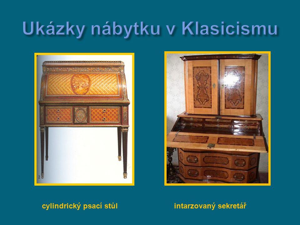 cylindrický psací stůl intarzovaný sekretář