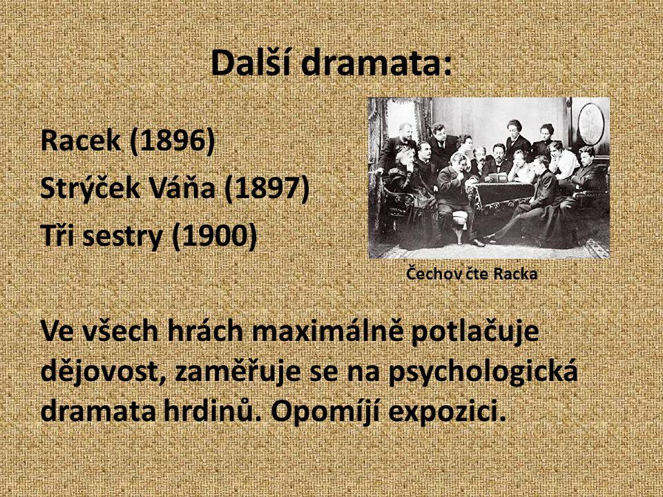 Další dramata: Racek (1896) Strýček Váňa (1897) Tři sestry (1900) Ve všech hrách maximálně potlačuje dějovost, zaměřuje se na psychologická dramata hrdinů.