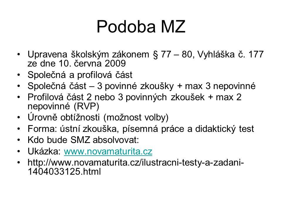 Podoba MZ Upravena školským zákonem § 77 – 80, Vyhláška č. 177 ze dne 10. června 2009 Společná a profilová část Společná část – 3 povinné zkoušky + ma