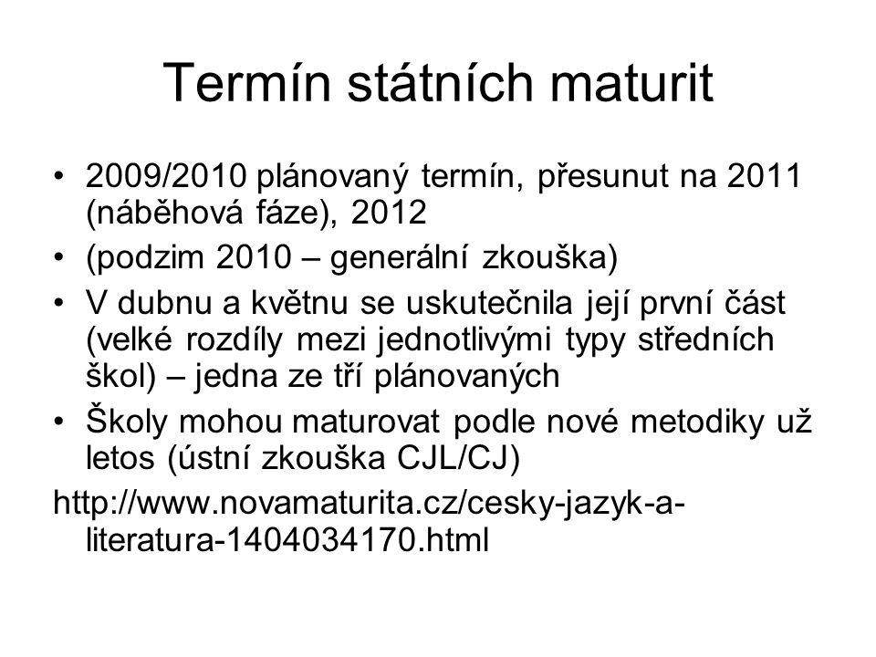 Termín státních maturit 2009/2010 plánovaný termín, přesunut na 2011 (náběhová fáze), 2012 (podzim 2010 – generální zkouška) V dubnu a květnu se uskut