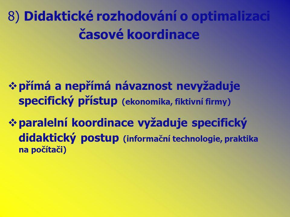 8) Didaktické rozhodování o optimalizaci časové koordinace  přímá a nepřímá návaznost nevyžaduje specifický přístup (ekonomika, fiktivní firmy)  paralelní koordinace vyžaduje specifický didaktický postup (informační technologie, praktika na počítači)