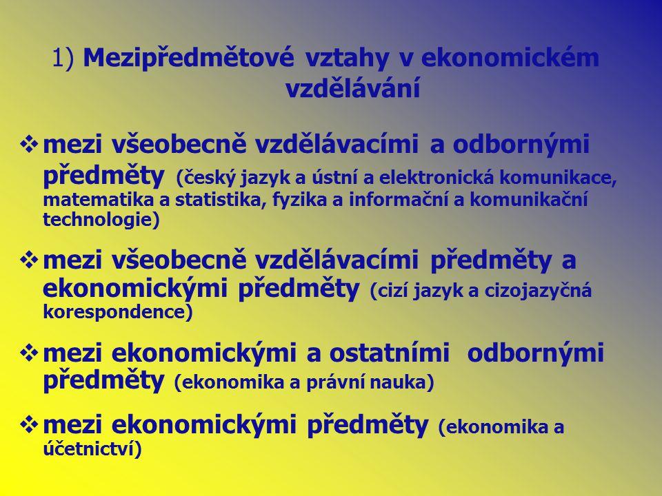 1) Mezipředmětové vztahy v ekonomickém vzdělávání  mezi všeobecně vzdělávacími a odbornými předměty (český jazyk a ústní a elektronická komunikace, matematika a statistika, fyzika a informační a komunikační technologie)  mezi všeobecně vzdělávacími předměty a ekonomickými předměty (cizí jazyk a cizojazyčná korespondence)  mezi ekonomickými a ostatními odbornými předměty (ekonomika a právní nauka)  mezi ekonomickými předměty (ekonomika a účetnictví)