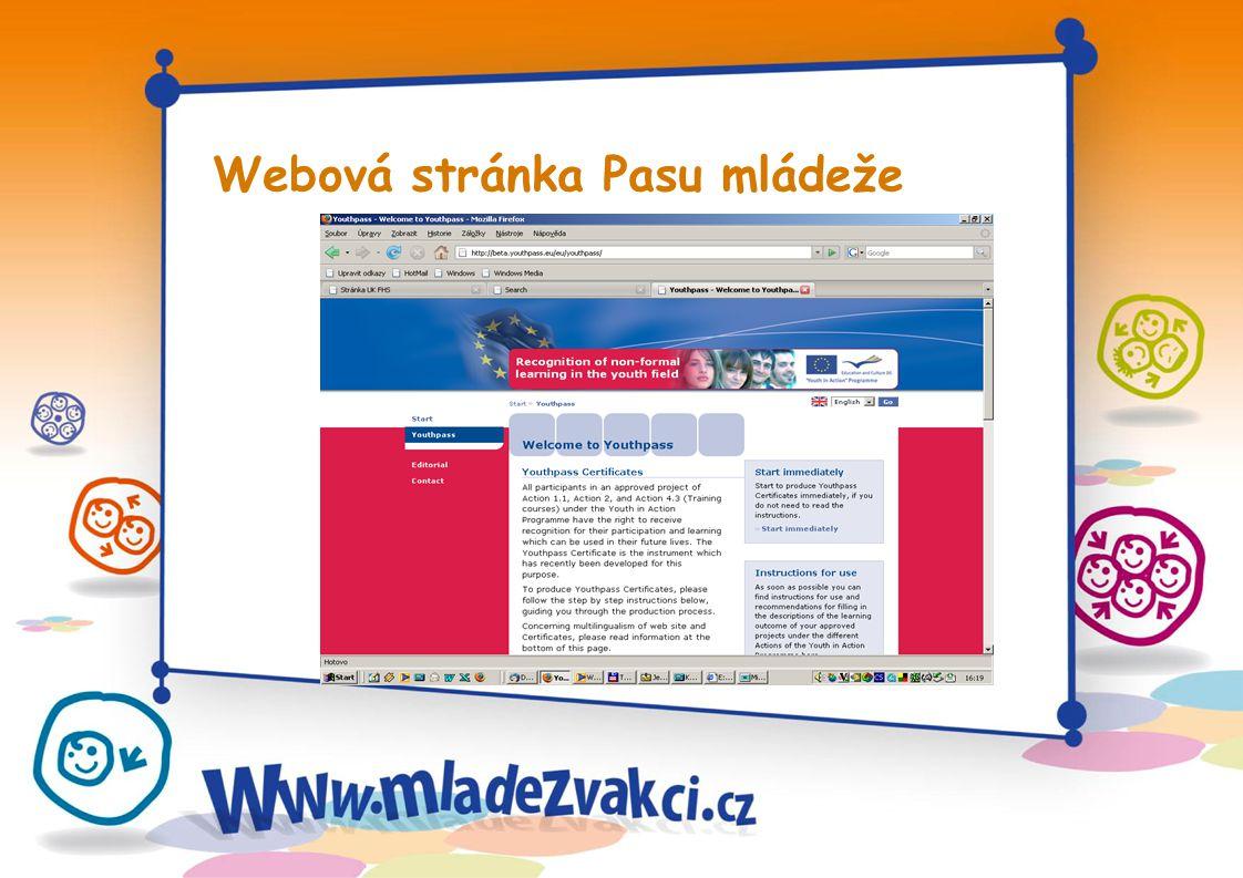 Webová stránka Pasu mládeže