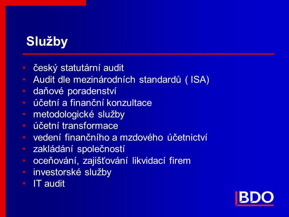 Služby český statutární audit Audit dle mezinárodních standardů ( ISA) daňové poradenství účetní a finanční konzultace metodologické služby účetní tra