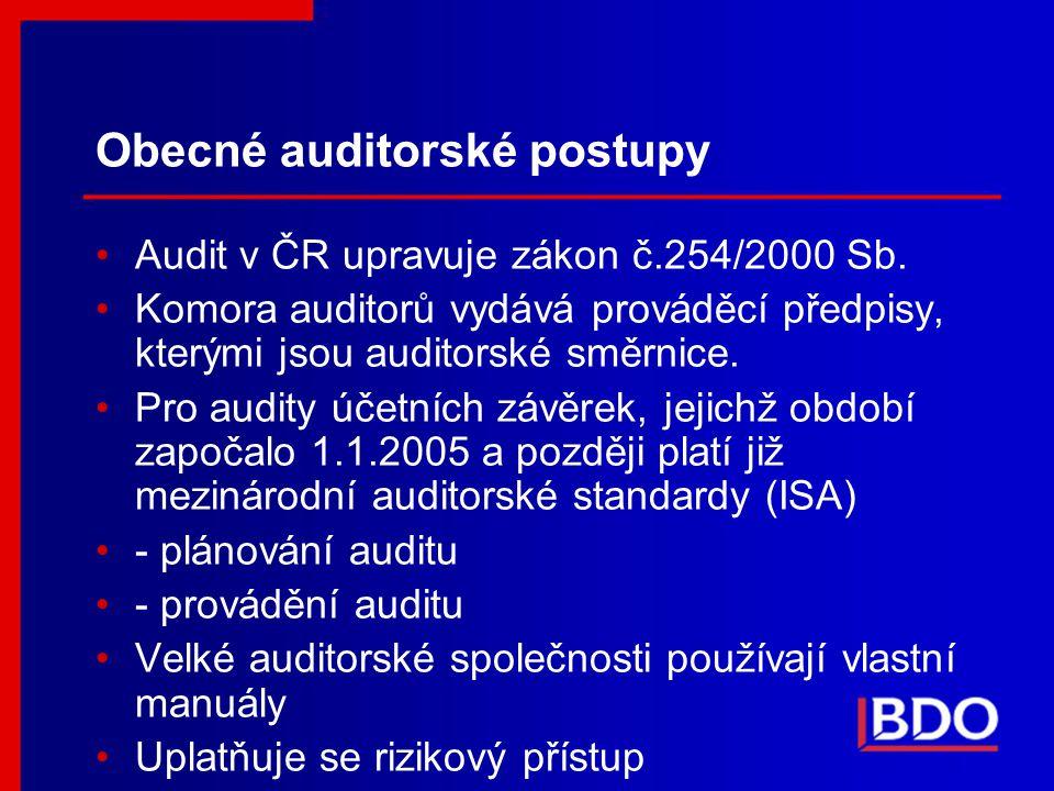 Obecné auditorské postupy Audit v ČR upravuje zákon č.254/2000 Sb. Komora auditorů vydává prováděcí předpisy, kterými jsou auditorské směrnice. Pro au