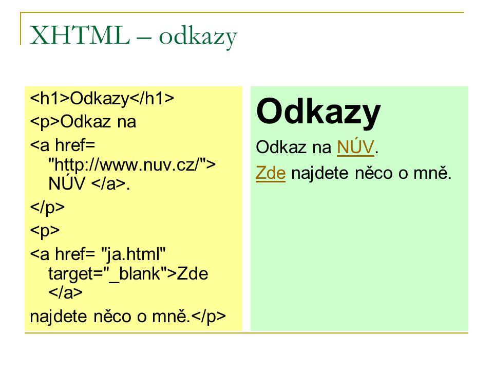 Záložky nebo-li kotvy Záložka definuje místo v dokumentu, na které může mířit odkaz umístěný na téže stránce.