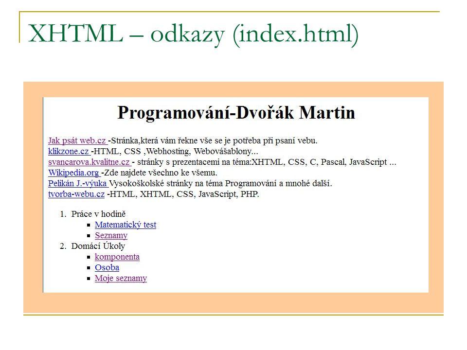 XHTML – odkazy (index.html)