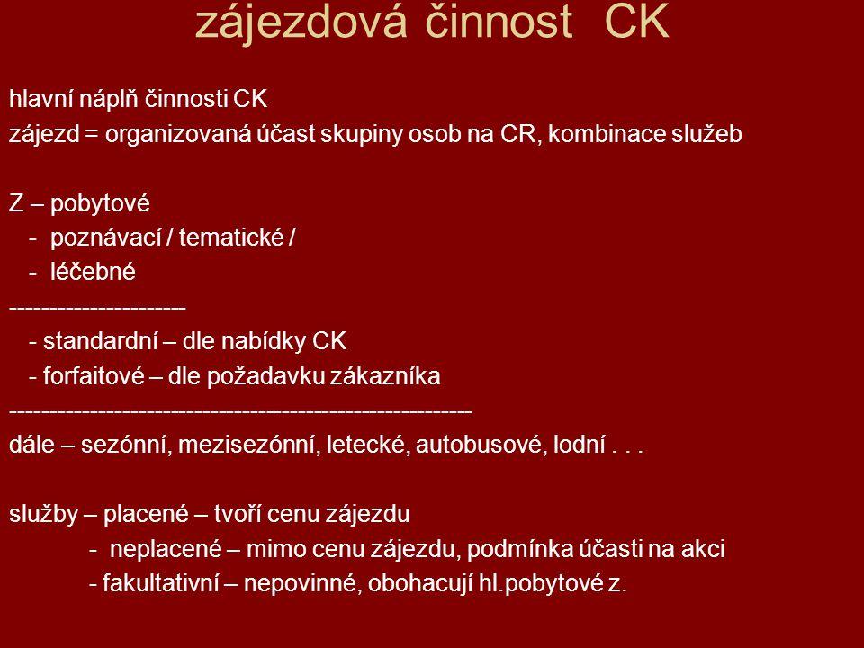 zájezdová činnost CK hlavní náplň činnosti CK zájezd = organizovaná účast skupiny osob na CR, kombinace služeb Z – pobytové - poznávací / tematické /