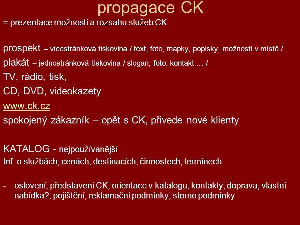 propagace CK = prezentace možností a rozsahu služeb CK prospekt – vícestránková tiskovina / text, foto, mapky, popisky, možnosti v místě / plakát – je