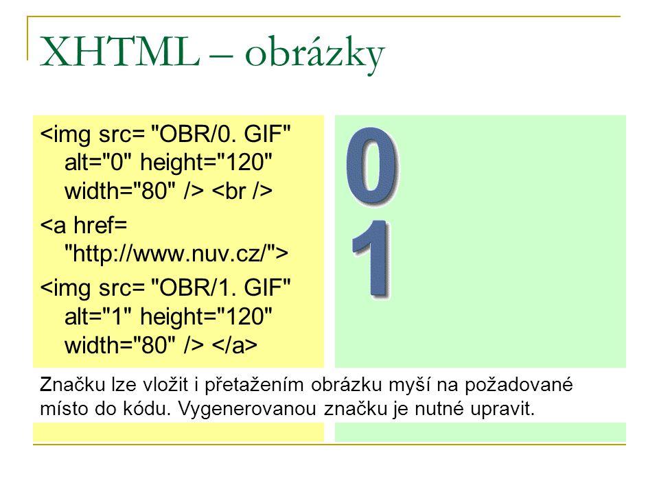 XHTML – obrázky Značku lze vložit i přetažením obrázku myší na požadované místo do kódu.