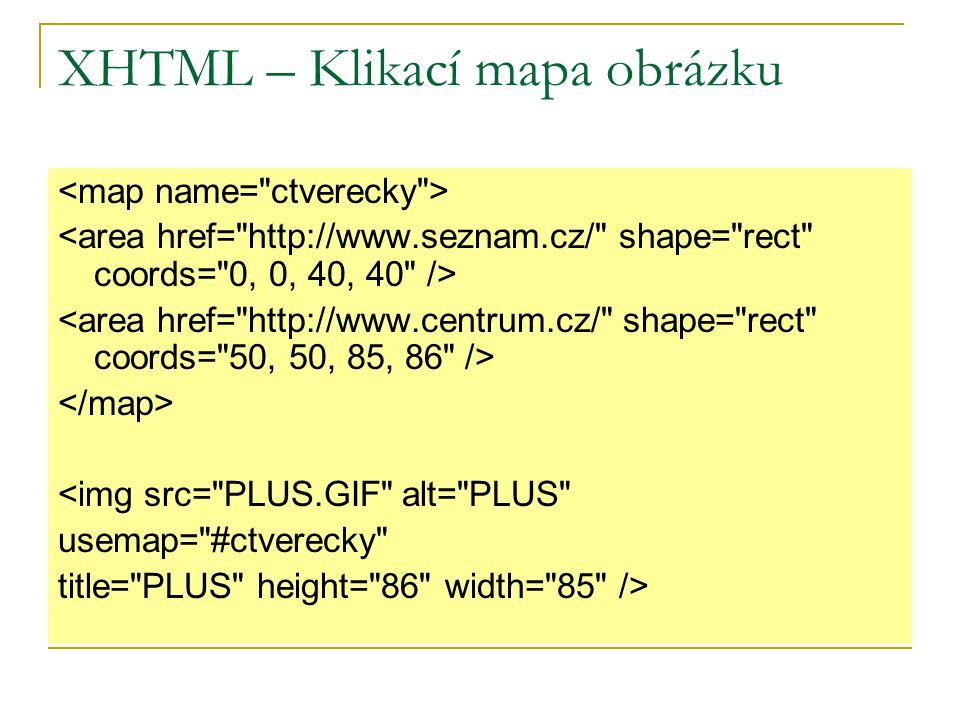 XHTML – Klikací mapa obrázku <img src= PLUS.GIF alt= PLUS usemap= #ctverecky title= PLUS height= 86 width= 85 />