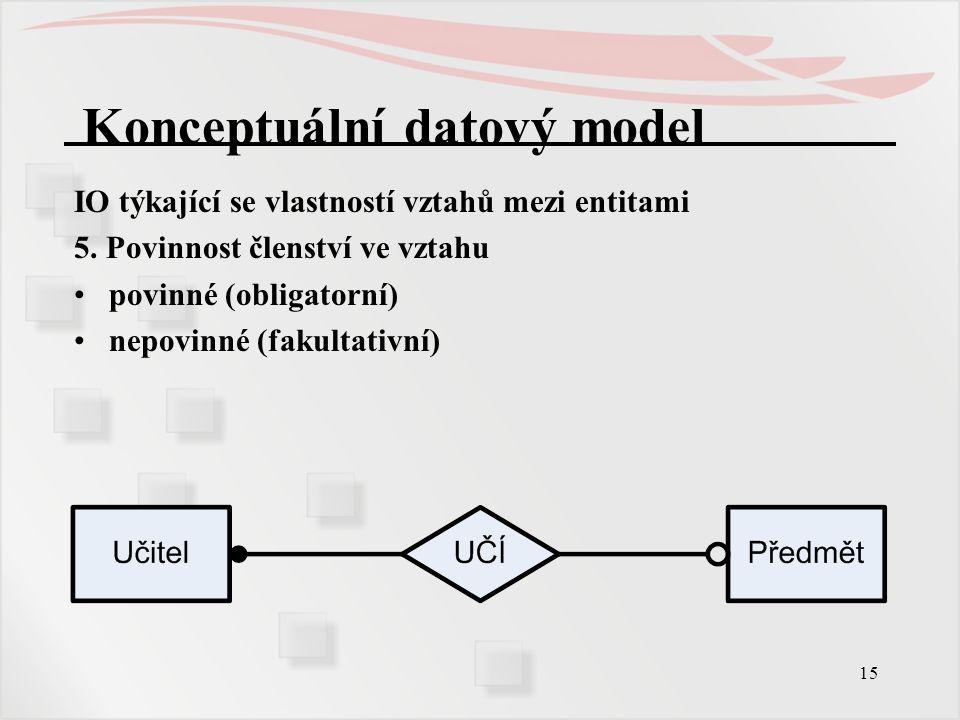 15 Konceptuální datový model IO týkající se vlastností vztahů mezi entitami 5. Povinnost členství ve vztahu povinné (obligatorní) nepovinné (fakultati