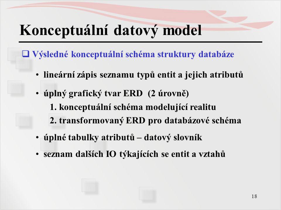 18 Konceptuální datový model  Výsledné konceptuální schéma struktury databáze lineární zápis seznamu typů entit a jejich atributů úplný grafický tvar