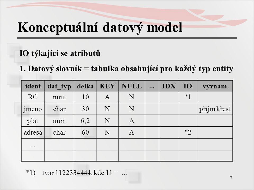 7 Konceptuální datový model IO týkající se atributů 1. Datový slovník = tabulka obsahující pro každý typ entity identdat_typdelkaKEYNULL...IDXIOvýznam