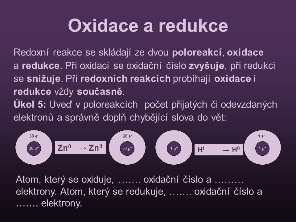 Oxidace a redukce Redoxní reakce se skládají ze dvou poloreakcí, oxidace a redukce. Při oxidaci se oxidační číslo zvyšuje, při redukci se snižuje. Při