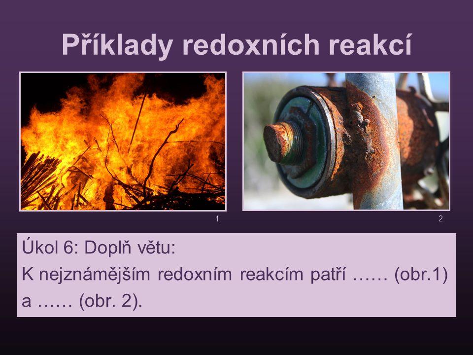 Příklady redoxních reakcí Úkol 6: Doplň větu: K nejznámějším redoxním reakcím patří …… (obr.1) a …… (obr. 2). 12