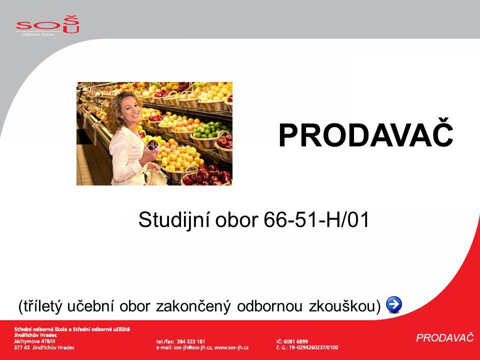 Studijní obor 66-51-H/01 (tříletý učební obor zakončený odbornou zkouškou) PRODAVAČ